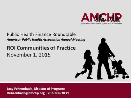 ROI Communities of Practice November 1, 2015 Public Health Finance Roundtable American Public Health Association Annual Meeting Lacy Fehrenbach, Director.