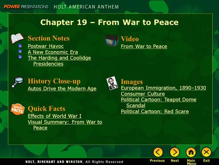 Chapter 19 – From War to Peace Section Notes Postwar Havoc A New Economic Era The Harding and Coolidge Presidencies Video From War to Peace Images European.
