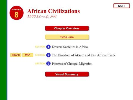 QUIT Chapter Overview Time Line Visual Summary SECTION Diverse Societies in Africa 1 SECTION The Kingdom of Aksum and East African Trade 2 SECTION Patterns.