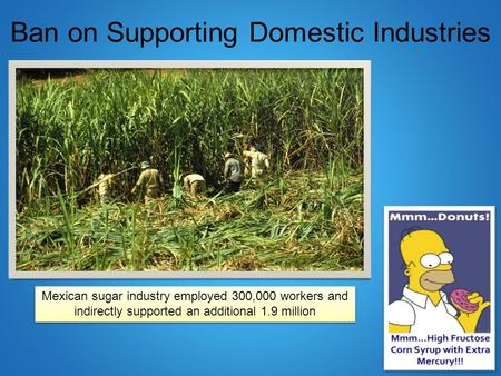 Ban on Supporting Domestic Industries Mexican sugar industry employed 300,000 workers and indirectly supported an additional 1.9 million.