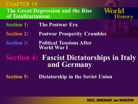 CHAPTER 19 Section 1:The Postwar Era Section 2:Postwar Prosperity Crumbles Section 3:Political Tensions After World War I Section 4: Fascist Dictatorships.