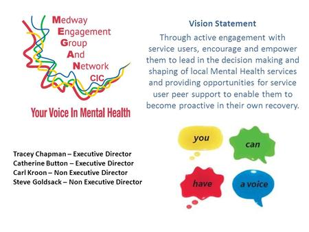Vision Statement Through active engagement with service users, encourage and empower them to lead in the decision making and shaping of local Mental Health.