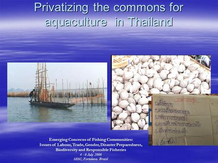 Privatizing the commons for aquaculture in Thailand Emerging Concerns of Fishing Communities: Issues of Labour, Trade, Gender, Disaster Preparedness, Biodiversity.