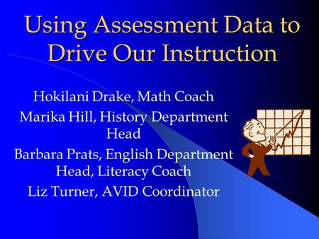 Using Assessment Data to Drive Our Instruction Hokilani Drake, Math Coach Marika Hill, History Department Head Barbara Prats, English Department Head,