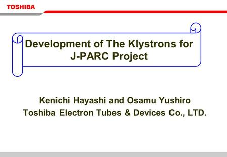 Development of The Klystrons for J-PARC Project