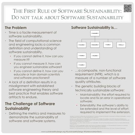 T HE F IRST R ULE OF S OFTWARE S USTAINABILITY : D O NOT TALK ABOUT S OFTWARE S USTAINABILITY The Problem Time is a facile measurement of software sustainability.