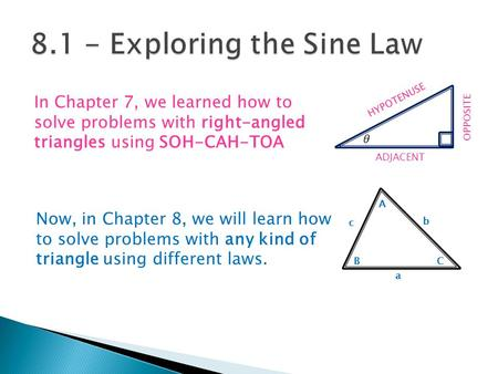 In Chapter 7, we learned how to solve problems with right-angled triangles using SOH-CAH-TOA OPPOSITE ADJACENT HYPOTENUSE Now, in Chapter 8, we will learn.