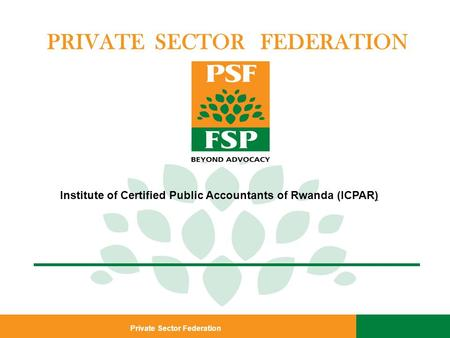 Private Sector Federation PRIVATE SECTOR FEDERATION Institute of Certified Public Accountants of Rwanda (ICPAR)