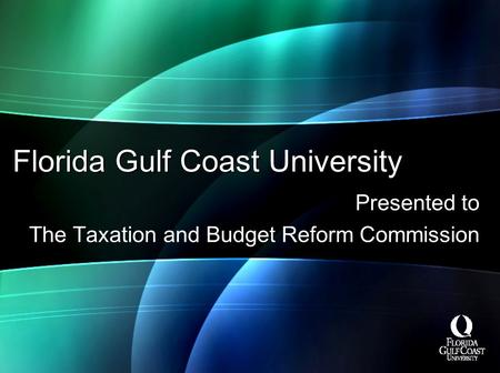 Florida Gulf Coast University Presented to The Taxation and Budget Reform Commission.