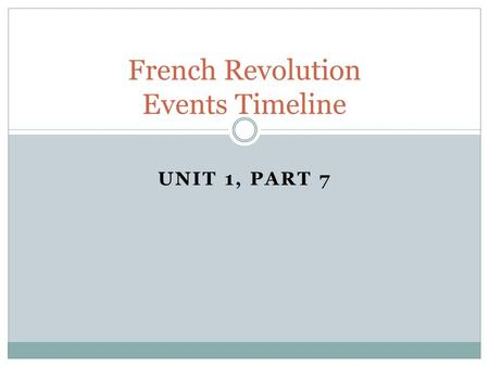 UNIT 1, PART 7 French Revolution Events Timeline.