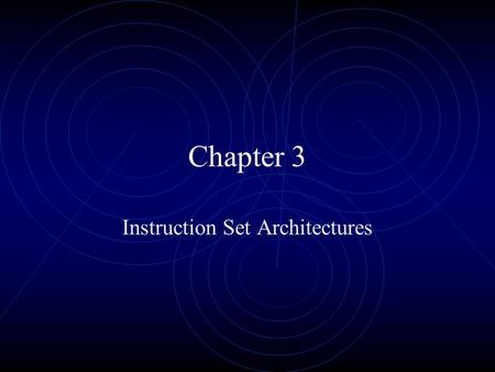 Chapter 3 Instruction Set Architectures. Instruction Set Architecture ISA Includes the information needed to interact with the microprocessor. Does not.