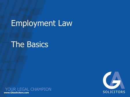 Employment Law The Basics. Introduction Purpose of today –The Basics –Recent Developments Your Pack Timings.