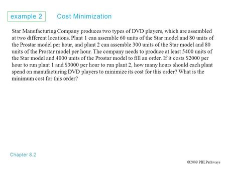Example 2 Cost Minimization Chapter 8.2 Star Manufacturing Company produces two types of DVD players, which are assembled at two different locations. Plant.