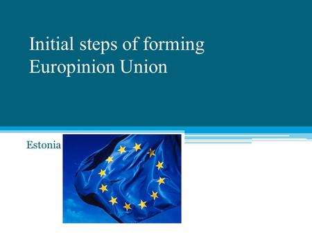 Initial steps of forming Europinion Union Estonia.