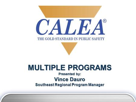 MULTIPLE PROGRAMS Presented by: Vince Dauro Southeast Regional Program Manager.