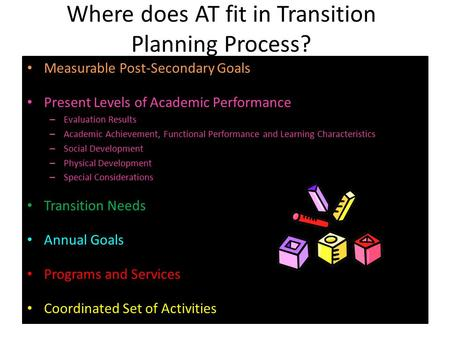 Where does AT fit in Transition Planning Process? Measurable Post-Secondary Goals Present Levels of Academic Performance – Evaluation Results – Academic.