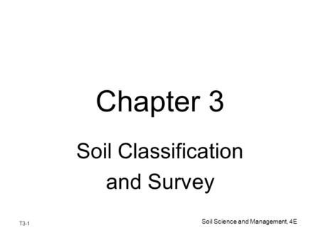 Soil Classification and Survey