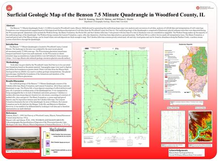 Results/Discussion The surficial geology of the Benson 7.5 Minute Quadrangle consists of the Cahokia Alluvium, Henry Formation, and Lemont Formation. All.
