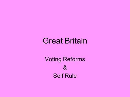 Great Britain Voting Reforms & Self Rule. Suffrage The right to vote Parliament feared rebellion and gave wealthy middle class suffrage 1800s women started.