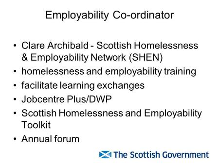 Employability Co-ordinator Clare Archibald - Scottish Homelessness & Employability Network (SHEN) homelessness and employability training facilitate learning.
