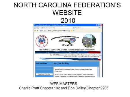 NORTH CAROLINA FEDERATION'S WEBSITE 2010 WEB MASTERS Charlie Pratt Chapter 192 and Don Dailey Chapter 2206.