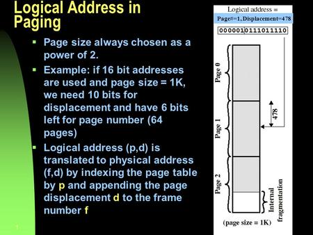 Chapter 91 Logical Address in Paging  Page size always chosen as a power of 2.  Example: if 16 bit addresses are used and page size = 1K, we need 10.