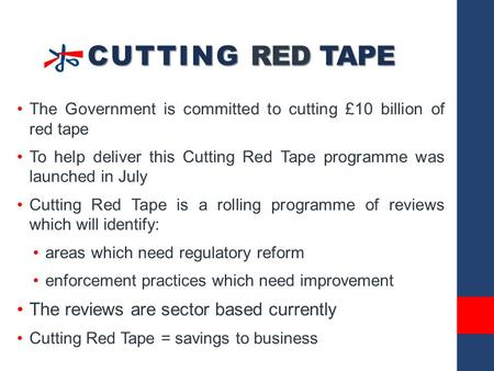 CUTTING RED TAPE The Government is committed to cutting £10 billion of red tape To help deliver this Cutting Red Tape programme was launched in July Cutting.