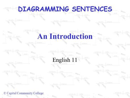DIAGRAMMING SENTENCES © Capital Community College An Introduction English 11.