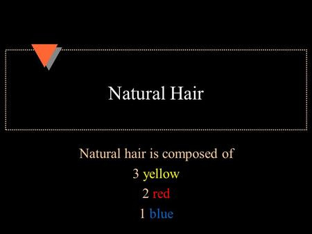 Natural Hair Natural hair is composed of 3 yellow 2 red 1 blue.