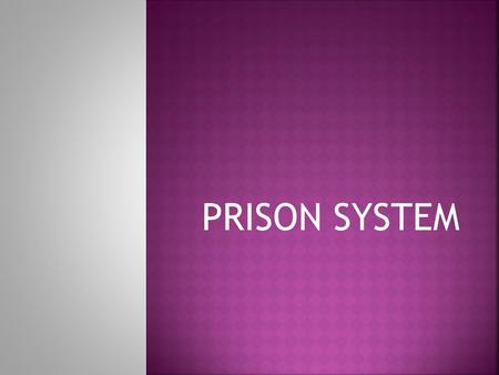 PRISON SYSTEM. Are responsible for:  Offenders with sentences of less than 2 years  Incarcerating all offenders  Processing parole applications  Supervising.
