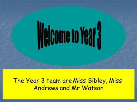 The Year 3 team are Miss Sibley, Miss Andrews and Mr Watson.