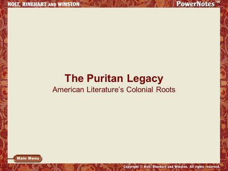 The Puritan Legacy American Literature's Colonial Roots.