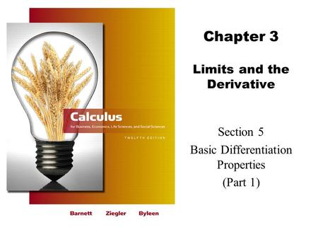 Chapter 3 Limits and the Derivative