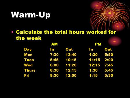 Warm-Up Calculate the total hours worked for the week AM PM DayIn OutIn Out Mon7:30 12:401:30 5:50 Tues5:45 10:1511:15 2:00 Wed6:00 11:2012:15 7:45 Thurs8:30.