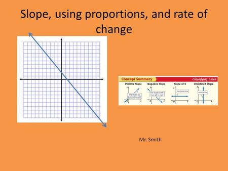 Slope, using proportions, and rate of change Mr. Smith.