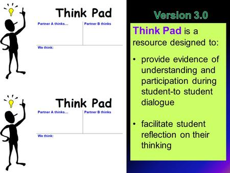 Think Pad is a resource designed to: provide evidence of understanding and participation during student-to student dialogue facilitate student reflection.