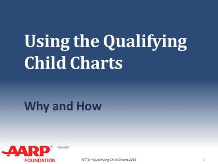 TAX-AIDE Using the Qualifying Child Charts Why and How 1NTTC – Qualifying Child Charts 2013.