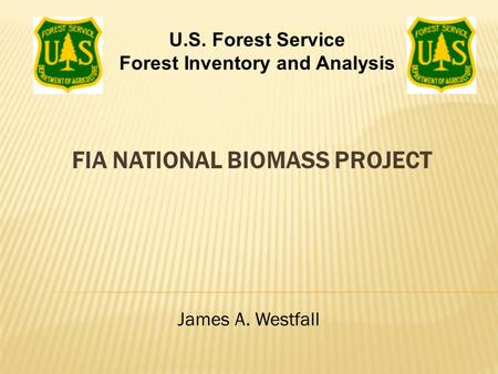 FIA NATIONAL BIOMASS PROJECT James A. Westfall U.S. Forest Service Forest Inventory and Analysis.
