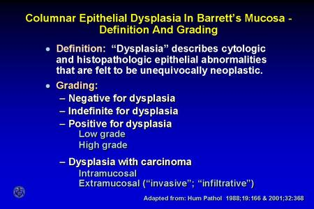 Columnar Epithelial Dysplasia In Barrett's Mucosa - Definition And Grading.