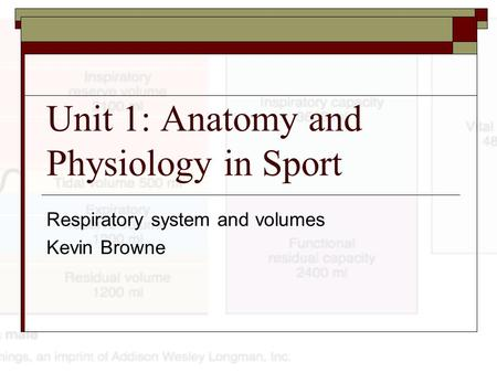 Unit 1: Anatomy and Physiology in Sport Respiratory system and volumes Kevin Browne.