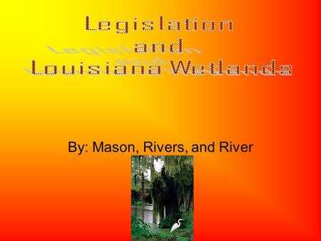 By: Mason, Rivers, and River. This act was passed in 1990 named for Louisiana Senator John Breaux The act's main goal is focusing on restoration and protection.