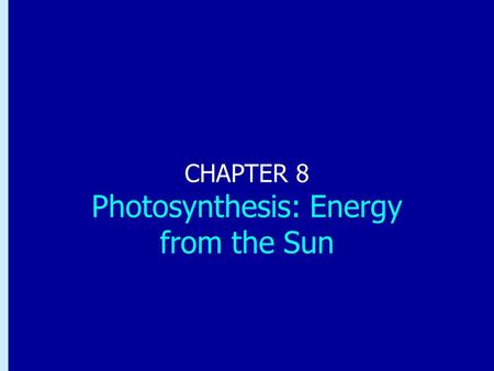 Chapter 8: Photosynthesis: Energy from the Sun CHAPTER 8 Photosynthesis: Energy from the Sun.