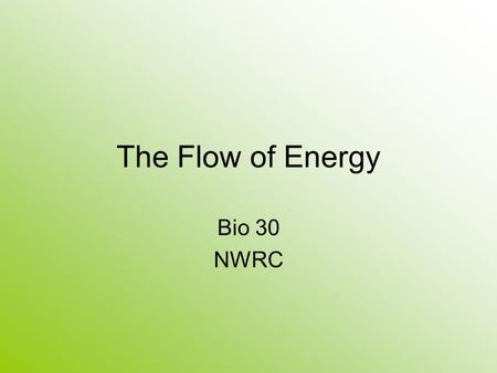 The Flow of Energy Bio 30 NWRC. Cellular Metabolism Metabolic processes – all chemical reactions that occur in the body Two types of metabolic reactions.