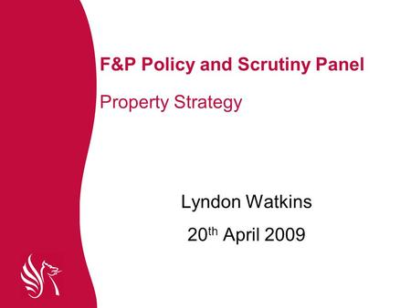 F&P Policy and Scrutiny Panel Property Strategy Lyndon Watkins 20 th April 2009.