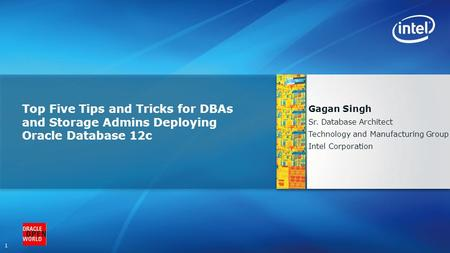 1 Top Five Tips and Tricks for DBAs and Storage Admins Deploying Oracle Database 12c Gagan Singh Sr. Database Architect Technology and Manufacturing Group.