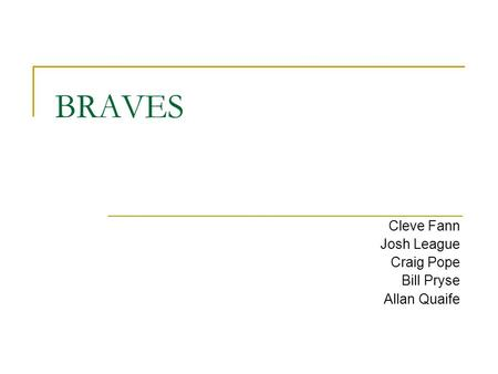 BRAVES Cleve Fann Josh League Craig Pope Bill Pryse Allan Quaife.