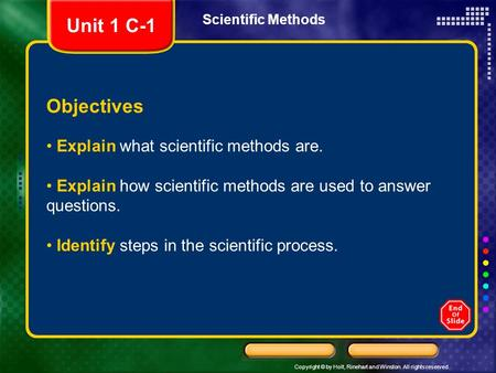 Copyright © by Holt, Rinehart and Winston. All rights reserved. Scientific Methods Objectives Explain what scientific methods are. Explain how scientific.