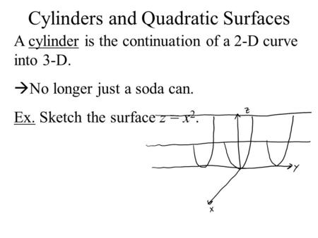 Cylinders and Quadratic Surfaces A cylinder is the continuation of a 2-D curve into 3-D.  No longer just a soda can. Ex. Sketch the surface z = x 2.