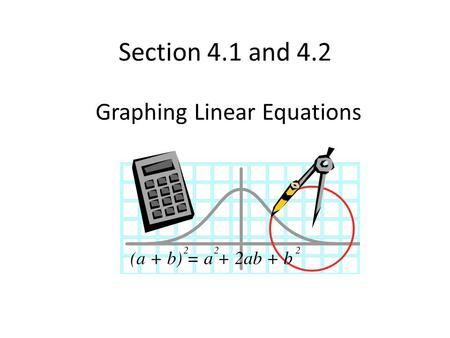 Section 4.1 and 4.2 Graphing Linear Equations. Review of coordinate plane: Ordered pair is written as (x,y). X is horizontal axis; Y is vertical axis.