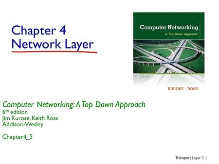 Transport Layer 3-1 Chapter 4 Network Layer Computer Networking: A Top Down Approach 6 th edition Jim Kurose, Keith Ross Addison-Wesley Chapter4_3.